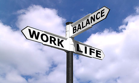 A signpost directing work life balance